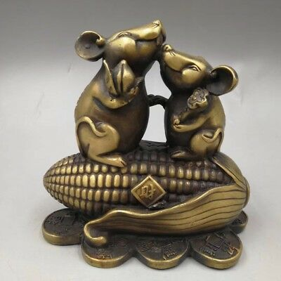 Chinese Old copper hand-made mouse corn Home decoration Statue YT53