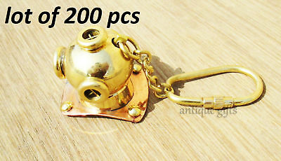 Lot Of 200 Pics Brass Divers Helmet Keychain Nautical Keyring Gift Diving Helmet