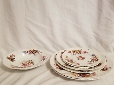 Aynsley Summertime (7pc)set 1 bowl, 2 bread butter,  2 salad and 2 dinner plates