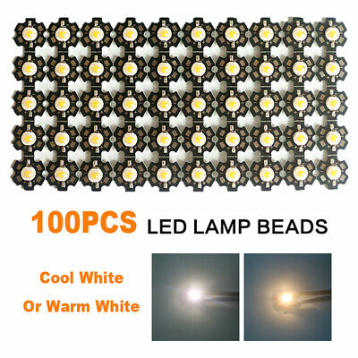100x LED COB Chip Wholesale Lamp Beads Cool/Warm High Power Lights With PCB 3W