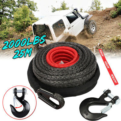 12000LBS 12mmx25m Synthetic Winch Rope Recovery Fiber Cable &Steel Hook Wire