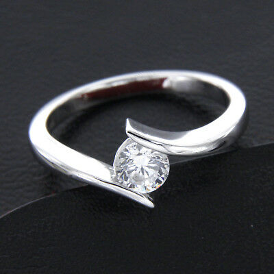 0.75ct Round Solitaire Bypass Engagement Ring 10k Solid White Gold For Women's