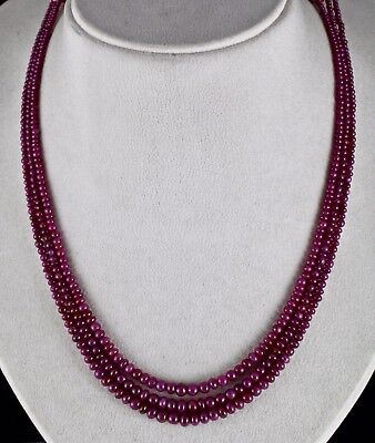 Natural Untreated Ruby Round 3 Line 169 Cts Gemstone Beads Necklace For Ladies