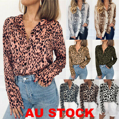AU Women Leopard Print Chiffon Blouse Shirt Long Sleeve Ladies Tops Size 6-18