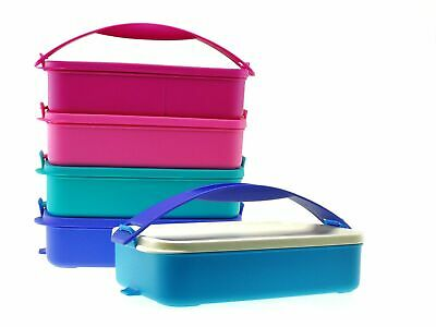 Tupperware 5x Lunch Box Set Click To Go Stackable Container 900ml w Handle 2pc