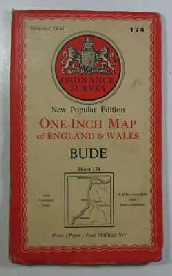 1946 Old Vintage OS Ordnance Survey One-inch New Popular Edition Map 174 Bude
