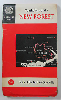 1966 Old Vintage OS Ordnance Survey One Inch Tourist Map of the New Forest