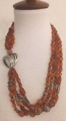 Antique Massive Natural Carnelian Necklace With Silver Accents
