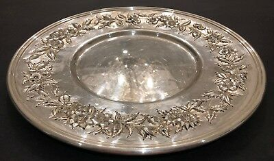 Big S. Kirk & Son Hand Decorated Sterling Silver Sandwich Plate
