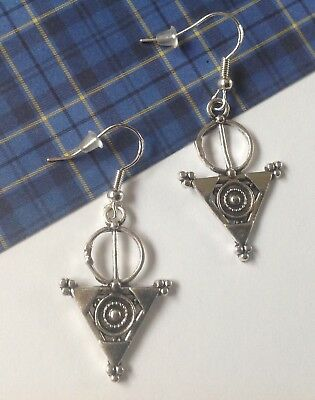 Celtic Earrings with Ancient Celtic Symbols on 925 Silver Hooks