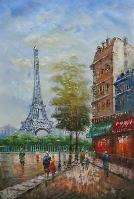 36x24 Visitors Walk around Paris Eiffel Tower in Early 20th Century Oil