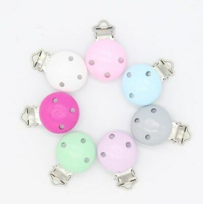 DIY 5X Baby Pacifier Clip Wooden Teether Accessories Soother Clasps Holders