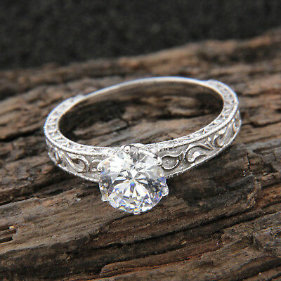 1.00Ct Round Cut Solitaire Diamond Engagement Vintage Ring 14k White Gold Finish