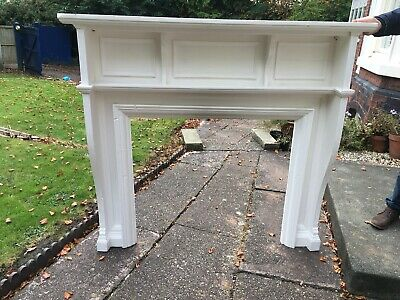 ANTIQUE ORIGINAL LARGE WOODEN FIRE SURROUND - unknown date painted white