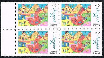 Chile 1984 Stamp # 1118 Mnh Block Of Four Christmas