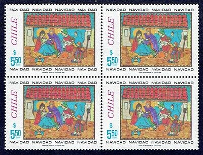 Chile 1981 Stamp # 1017 Mnh Block Of Four Christmas 81'