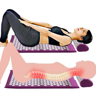 Body Massager Cushion Mat Shakti Relieve Acupressure Yoga Pad With Pillow EagH6