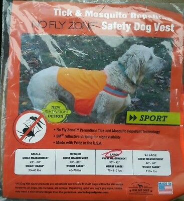 Tick and Mosquito Repelling Safety Dog Vest,large,  Dog Not Gone, Made in USA
