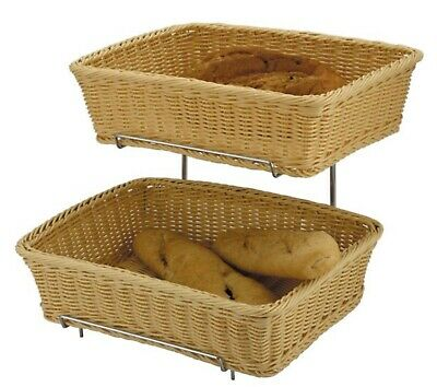 2-Tier Heavy Duty Display Stand Food Display Bread Roll Polyrattan Basket