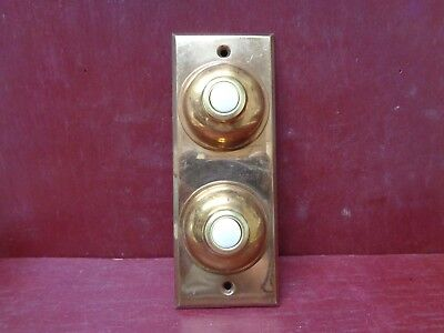 Vintage Nos Heavy Cast Brass 2 Button Doorbell Plate #03