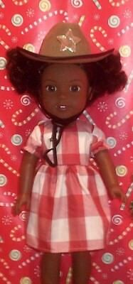 """14.5"""" Doll Clothes-fit American Girl-Wellie Wishers-Check Dress/Cowgirl Hat"""