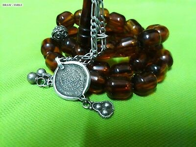 Antique old Ottoman amber bakelite islamic prayer beads 73 Grams