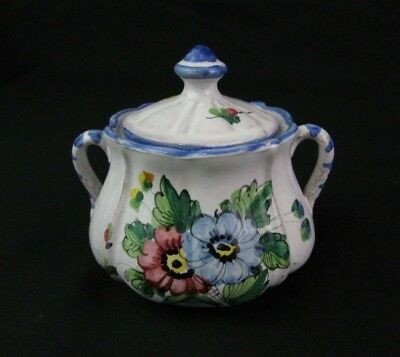 Vintage Italy Ceramic Sugar Bowl 1978 Painted Flower Lid Pottery