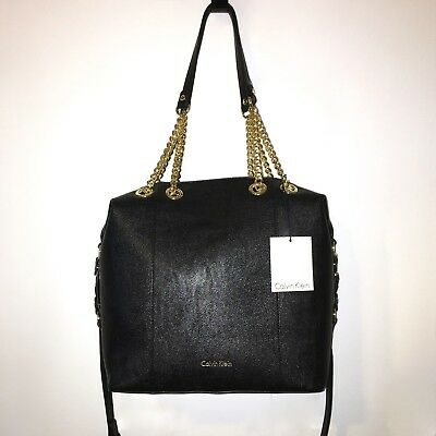 856be34d9f CALVIN KLEIN H7GBZ7LP Black/Gold R-Hailey Tote With Shoulder Strap NWT  $188.00