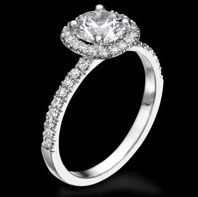 2 Ct Solitaire Diamond Engagement Ring Round Cut D SI White Gold 14k Enhanced