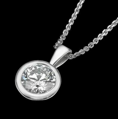 1/2 Ct Real 14k White Gold Round BEZEL Solitaire Pendant Necklace Chain D/SI1