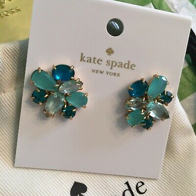 Kate Spade New York Here Comes The Sun Cluster Earrings Blue Multi Gold NWT