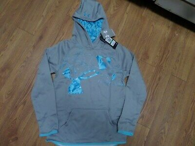 BNWT-  Girls UNDER ARMOUR coldgear Hoodie! Size YLG Loose Fit  GRAY