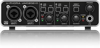 BEHRINGER UMC202HD 24-Bit/192 kHz USB Audio Interface with MIDAS Mic Preamps NEW