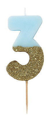 We Heart Birthdays Glitter Dipped Numeral Candle Blue Number 3
