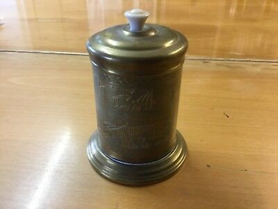 Vintage tea caddy tea time Brass & Bakelite Handled - approx 5.5 ins
