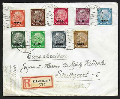 German Occupation Elsass covers 1940 R-cover Kolmar to Stuttgart