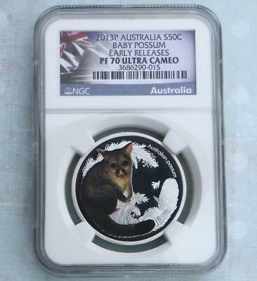 2013 NGC PF70 U-Cam Australia Baby Possum Early Release 1/2oz Silver 50C, Pop 39