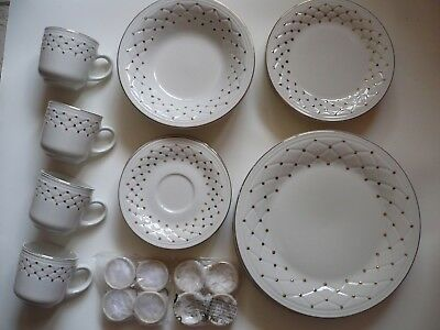 Lot - Gibson Housewares China White w Gold Dots & Rim Quilted Dinnerware Set