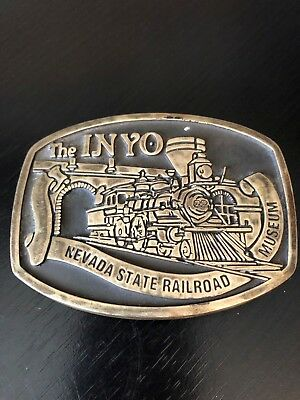 The INYO Nevada State Railroad Museum Belt Buckle Train Solid Brass 1994
