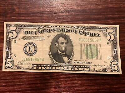1934 A $5 Dollar Bill Green Seal Federal Reserve Note Currency Paper Money