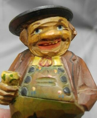 Antique old vintage hand carved European wooden figure drinking man wood carving