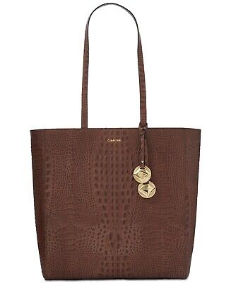 5e6acf2094e Calvin Klein Avery North/South Croco Pebble Extra-Large Tote – Mocha  Chocolate