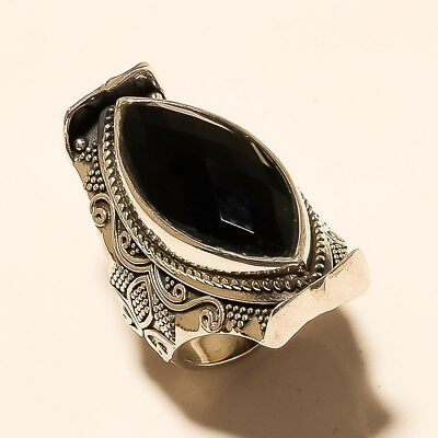 Real Egyptian BlackOnyx Ring 925 Sterling Silver Boho Antique Women Fine Jewelry