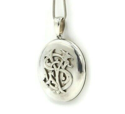 Large Victorian Sterling Silver Monogram Locket Necklace