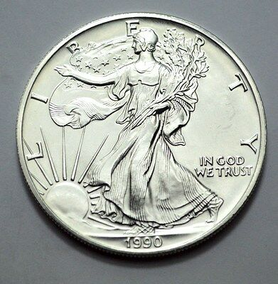 1990 American Silver Eagle Dollar 1 Oz Fine Silver Uncirculated