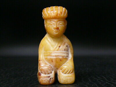 (cNT04) Japan: Beautiful Vintage Gemstone Jade Hand Carved Netsuke