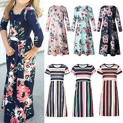 Kids Girls Floral Printed Striped Maxi Dress Toddler Holiday Party Long Dresses