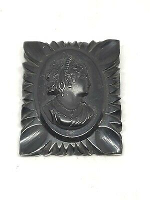 Antique Large Victorian Black Jet Cameo Mourning Brooch