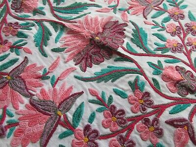 """Vintage Hand Embroidered Tablecloth/Bed Cover 84""""x56""""-BEAUTIFUL CREWEL WORK"""