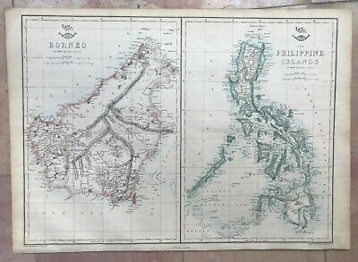 PHILIPPINES & BORNEO ISLANDS 1863 by WELLER LARGE ANTIQUE ENGRAVED MAPS